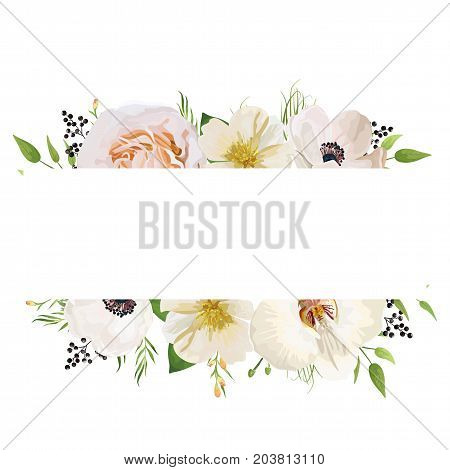 Vector floral design card. Light pink peach garden rose orchid white camellia anemone wax flowers privet berry green plant herb leaf mix Wedding watercolor cute invitation Frame border with copy space