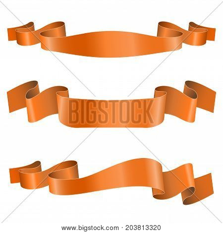 Orange ribbon banners. Shiny silk title scrolls. Vector 3d illustration isolated on white background