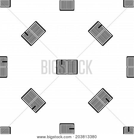 Open book with red bookmark pattern repeat seamless in black color for any design. Vector geometric illustration