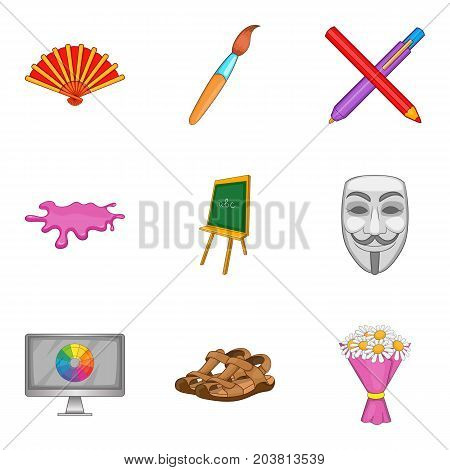 Portrayal icons set. Cartoon set of 9 portrayal vector icons for web isolated on white background