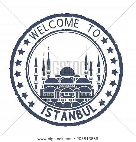 Welcome to Istanbul. Blue postal stamp, round postmark with Blue Mosque. Vector illustration