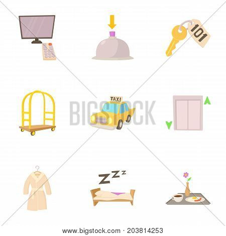Hotel resort icons set. Cartoon set of 9 hotel resort vector icons for web isolated on white background
