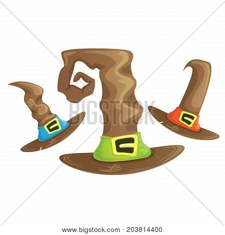 vector cartoon vintage tall witch hat with belt set isolated on white background. halloween brown hat icon collection. halloween design elements