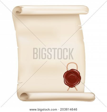 Parchment scroll with wax seal. Vector 3d illustration isolated on white background