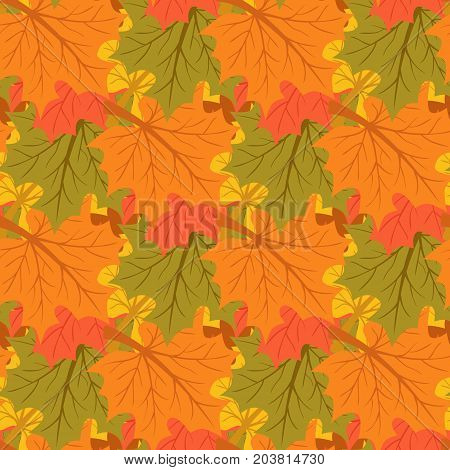 Vector illustration of maple leaves. Autumn background. Endless seamless pattern