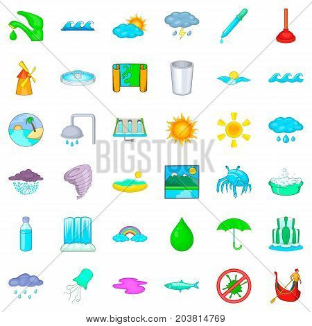 Plumber icons set. Cartoon style of 36 plumber vector icons for web isolated on white background