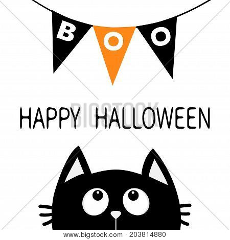 Black cat face head silhouette looking up to Bunting flags Boo letters. Flag garland. Happy Halloween card. Party decoration element. Hanging text on rope thread. Flat design. White background. Vector