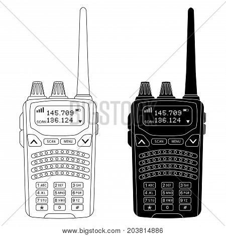 Radio transceiver. Rectangle portable device with screen and antenna. Black and outline flat illustration. Vector isolated on white background