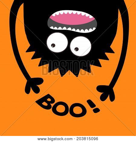 Screaming monster head silhouette. Boo text. Two eyes teeth tongue hands. Hanging upside down. Black Funny Cute cartoon baby character. Happy Halloween. Flat design. Orange background. Vector