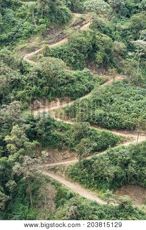 steep road on mountain side in the Ecuador Andes