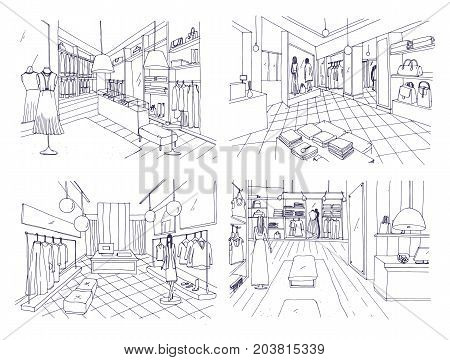 Outline drawings of clothing boutique interior with furnishings, counters, showcases, mannequins dressed in fashionable clothes. Hand drawn fashion store or trendy apparel shop. Vector illustration
