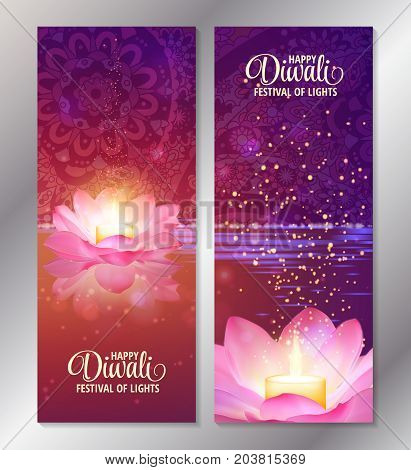 Set of two happy diwali vertical banners with glowing candle on pink lotus. Vector. Festival of lights greeting flyers.
