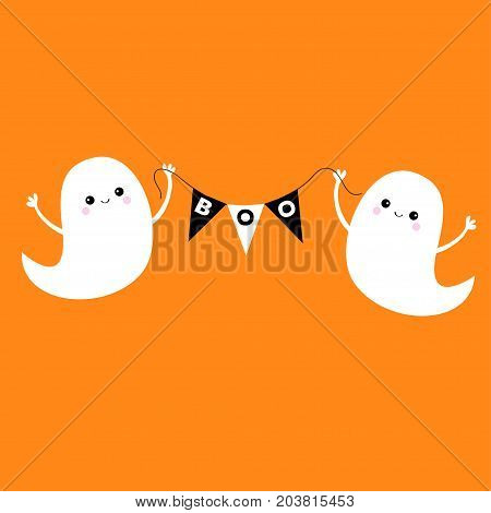 Flying ghost spirit holding bunting flag Boo. Happy Halloween. Two scary white ghosts. Cute cartoon spooky character. Smiling face hands Orange background Greeting card Flat design. Vector