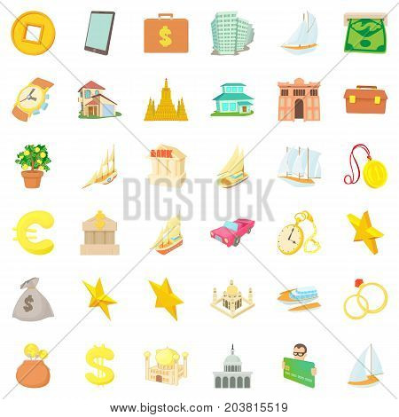 Treasure icons set. Cartoon style of 36 treasure vector icons for web isolated on white background