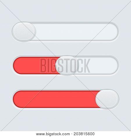 Red slider bar on gray background. Vector illustration