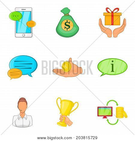Mobile banking support icon set. Cartoon set of 9 mobile banking support vector icons for web design isolated on white background