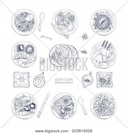 Collection of hand drawn dishes of Asian cuisine isolated on white background. Delicious meals and snacks, traditional food of Asia - ramen noodles, dumplings, sushi. Vector detailed illustration