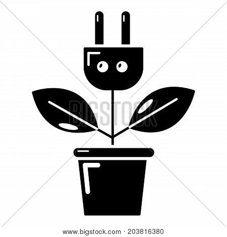 Plant in pot and electric plug icon. Simple illustration of plant in pot and plug vector icon for web design