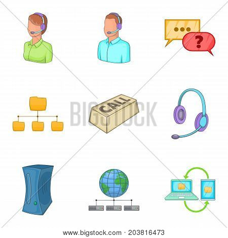 Call center icon set. Cartoon set of 9 call center vector icons for web design isolated on white background