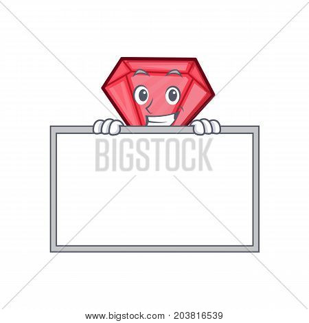 Grinning with board diamond character cartoon style vector illustration
