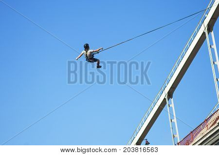 Rope Jumping: people in flight from a height. Jump from height