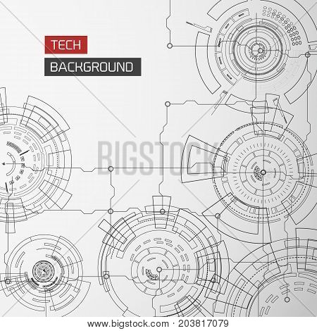 Modern technology background with drawing monochrome circles connected circuit lines and detailed elements vector illustration