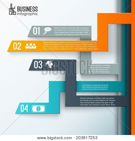 Business conceptual background with four crossing lines of different route and colour with numbers and pictograms vector illustration
