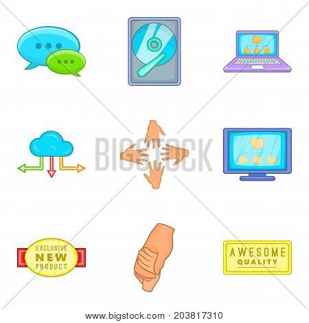 Client support icon set. Cartoon set of 9 client support vector icons for web design isolated on white background