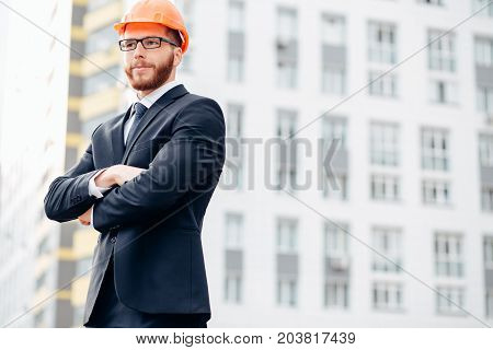 Engineer, Builder In Helmet, Builder With Glasses At Construction Site