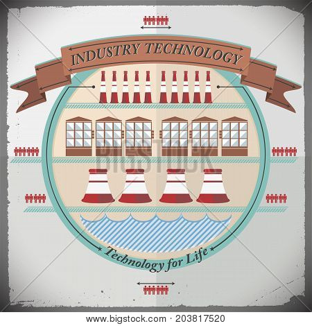 Industrial technology composition with engineering inventions smokestacks and man icons design elements on light background vector illustration