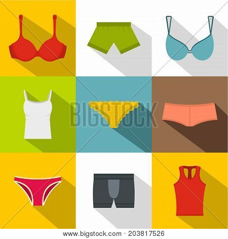 Female underwear icon set. Flat style set of 9 female underwear vector icons for web design