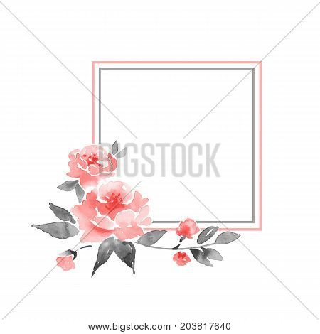 Watercolor floral frame. Element for design. Watercolor background with delicate flowers