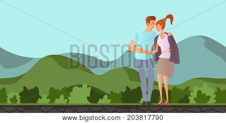Young couple in love. Man and woman on a romantic date in mountain landscape. A man hugs a woman. Vector illustration.
