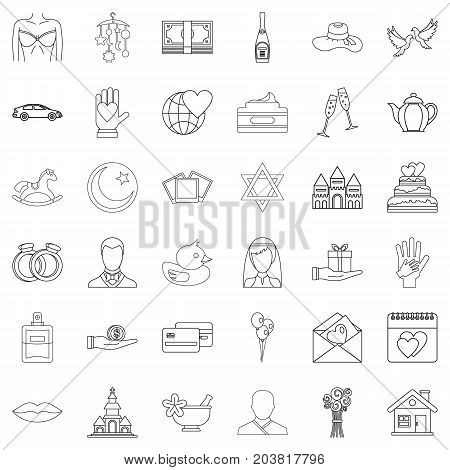 Bridegroom icons set. Outline style of 36 bridegroom vector icons for web isolated on white background