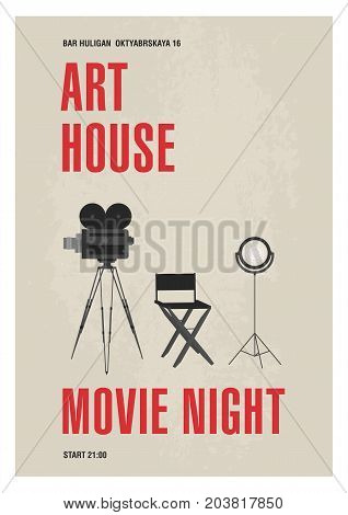 Minimalistic poster template for art house movie night with film camera standing on tripod, studio lamp and director chair drawn in monochrome colors. Vector illustration for event announcement
