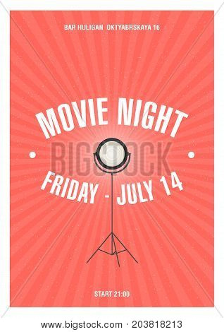 Bright colored poster or invitation template for movie night or film festival with glowing spotlight standing on tripod drawn in retro style. Vector illustration for cinema event announcement