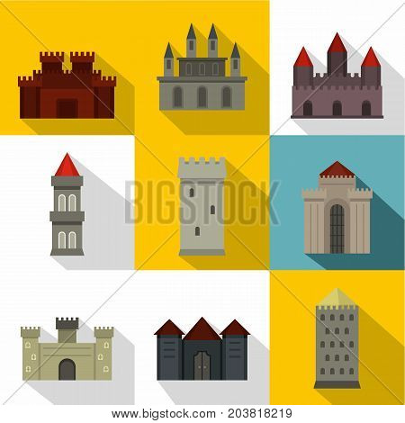 Ancient castle icon set. Flat style set of 9 ancient castle vector icons for web design