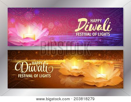 Set of two happy diwali horizontal banners with glowing candle on pink and golden lotus flowers. Vector. Festival of lights greeting flyers.
