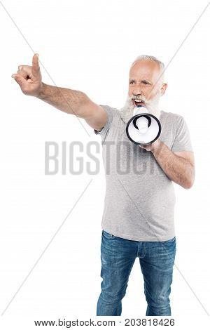 Shouting Senior Man With Loudspeaker