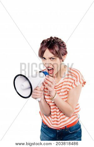 Shouting Young Woman With Loudspeaker