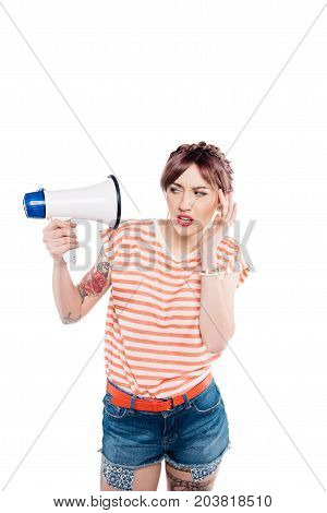 Young Woman With Loudspeaker