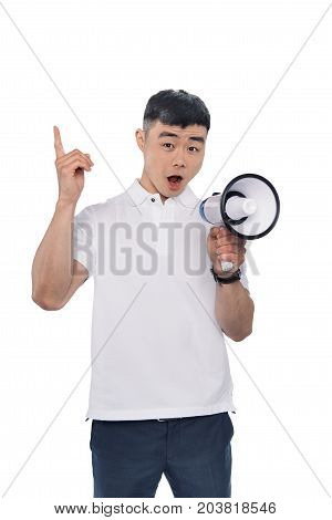 Excited Asian Man With Bullhorn