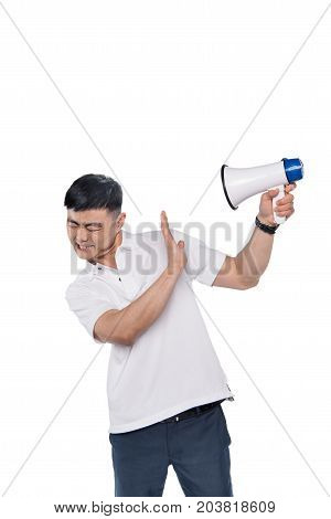 Asian Man With Bullhorn In Hand