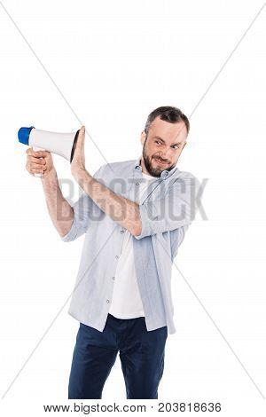 Grimace Caucasian Man With Loudspeaker