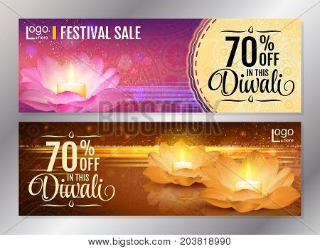Horizontal Diwali Festival Offer Poster Design Template with Lotus water lanterns and fireworks. Vector flyer set for festival of lights.