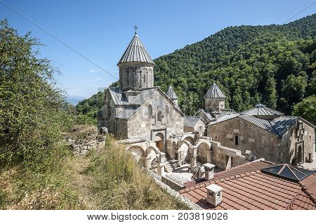 Armenia. The monastery Haghartsin built in the eleventh to the twelfth centuries is located in the picturesque mountains.