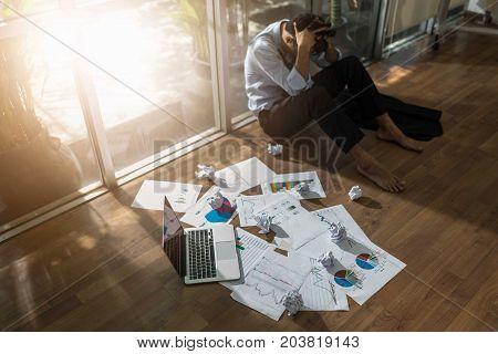 Business asian man stress and sad business failure concept. failure idea concept.