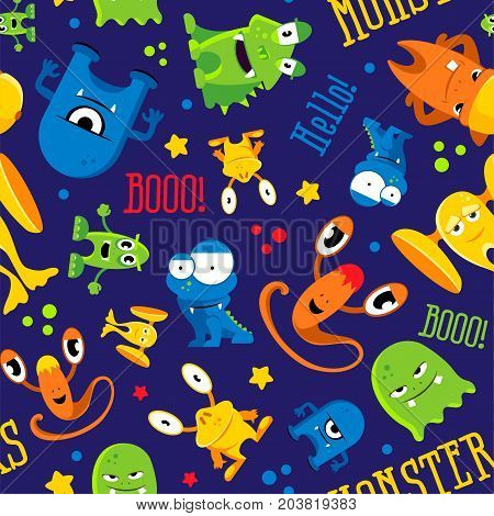 Seamless cute pattern made with monsters, bubbles and words hello, color monster, vector illustration