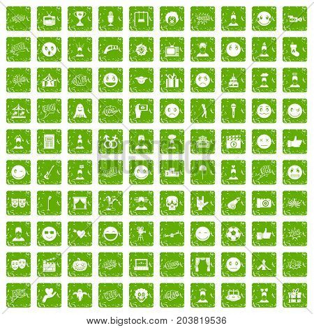 100 emotion icons set in grunge style green color isolated on white background vector illustration