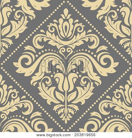 Orient vector classic pattern. Seamless abstract background with repeating elements. Orient gray and golden background